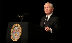 Then-Defense secretary Robert Gates speaks at West Point in 2011.