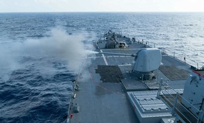 The USS Curtis Wilbur (DDG 54) conducts a live fire gunnery exercise.