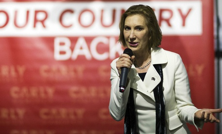 Carly Fiorina speaks at a campaign event in New Hampshire Wednesday.