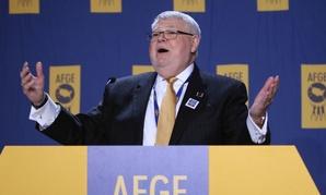 AFGE President J. David Cox Sr. speaks at the union's legislative conference on Sunday.