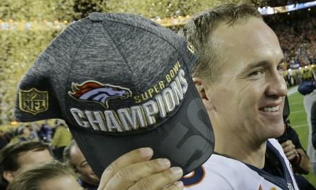 Denver Broncos' Peyton Manning celebrates after the NFL Super Bowl 50 game against the Carolina Panthers Sunday.