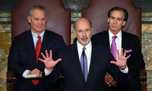 Pennsylvania Gov. Tom Wolf delivers his budget address in Harrisburg on Tuesday, Feb. 9, 2016.