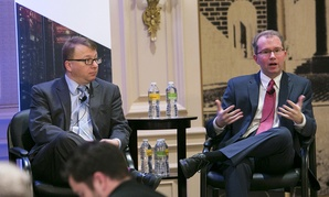 FCC CIO David Bray, left, discusses IT modernization.