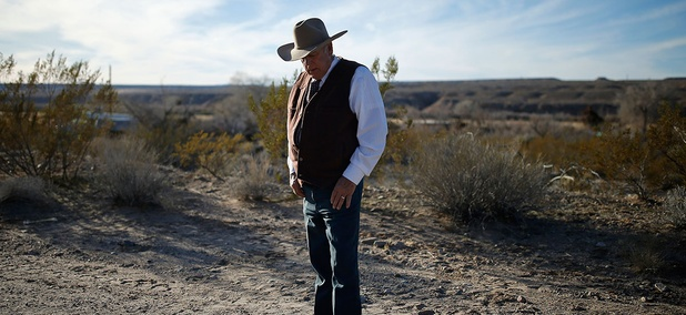 Cliven Bundy stands at his Nevada ranch in January.