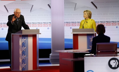 Democratic presidential candidates Bernie Sanders and Hillary Clinton during the Democratic presidential primary debate at the University of Wisconsin-Milwaukee on Feb. 11, 2016.