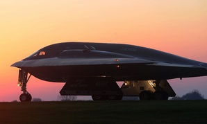 A B-2 Spirit bomber taxis on a flightlins during Exercise Global Thunder 15 in 2014.