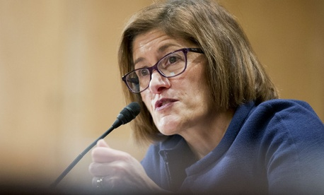OPM nominee Beth Cobert testifies before the Senate Homeland Security and Governmental Affairs Committee.