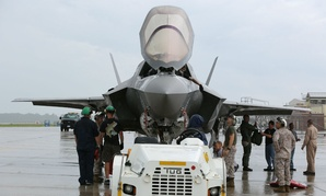 Cherry Point service members prepare an F-35B Lightning II for transport to Fleet Readiness Center East for maintenance.