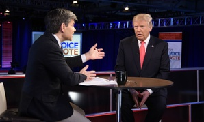 George Stephanopoulos interviews Republican presidential candidate Donald Trump after the Feb. 6 presidential debate.
