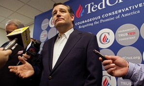 Republican presidential candidate Ted Cruz gets ready to speak at a rally in Louisiana.