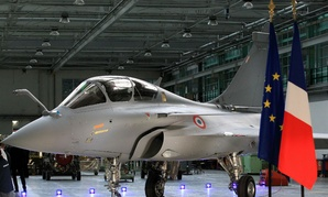 A Rafale fighter on the final assembly line in the factory of French aircraft manufacturer Dassault Aviation.