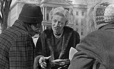 Sen. Margaret Chase Smith greets voters in 1964.