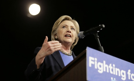 Democratic presidential candidate Hillary Clinton speaks at Purchase College in New York.