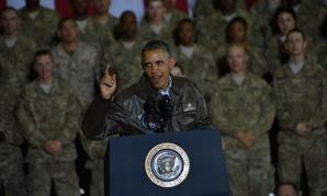 Obama talks to troops at  Bagram Air Field in 2014.