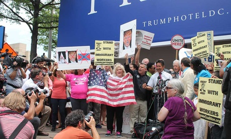 Protestors rally at the Old Post Office Building on Pennsylvania Avenue in D.C. in July.