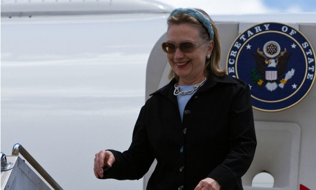 Then-Secretary of State Hillary Clinton arrives in Melbourne, Australia in November 2010.