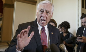 In this photo taken Feb. 27, 2015, House Minority Whip Steny Hoyer, D-Md. speaks on Capitol Hill in Washington.