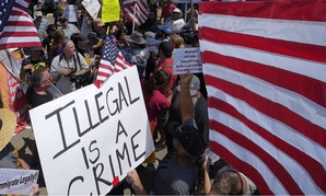 Demonstrators clash outside a Border Patrol station in  Murrieta, Calif., in 2014.
