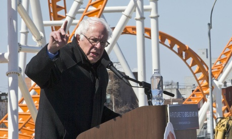Democratic presidential candidate Bernie Sanders campaigns on the Coney Island boardwalk in Brooklyn, N.Y.