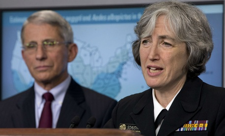 Dr. Anne Schuchat, principal deputy director of the Centers for Disease Control, and Dr. Anthony Fauci, director of NIH/NIAID, speak about the Zika virus Monday.