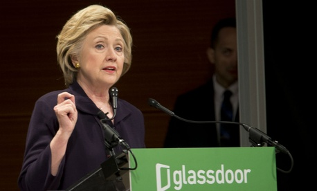 Democratic presidential candidate Hillary Clinton speaks during a pay equality roundtable on Tuesday.
