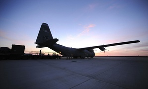 A C-130J Super Hercules is loaded before Joint Task Force Odyssey Dawn in 2011.