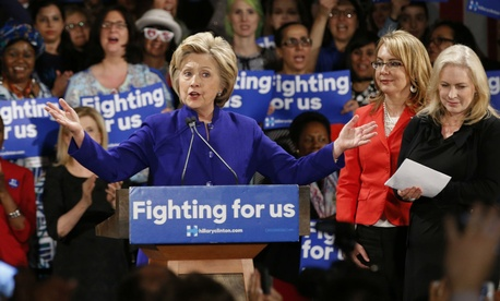Clinton speaks at a Women for Hillary event in New York the day before the primary.