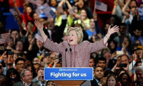 Hillary Clinton celebrates Tuesday night in New York.