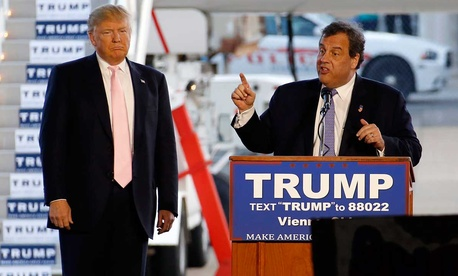 Donald Trump and Chris Christie speak to a crowd in Ohio in March.