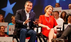 Cruz and Fiorina laugh during a Cruz campaign event in February.