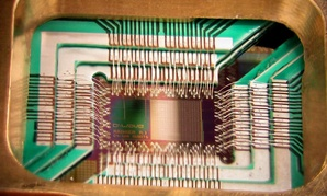 A quantum chip constructed by D-Wave Systems Inc.