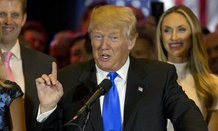 Republican presidential candidate Donald Trump holds a primary night news conference in Indiana.