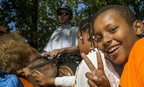 Children learn from a Park Service ranger at Rock Creek Park in Washington.