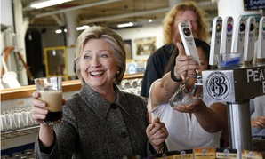 Democratic presidential candidate Hillary Clinton tours the Pearl Street Brewery in La Crosse, Wis., in late March.