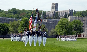 Cadet color guard on parade in 2001 at West Point.