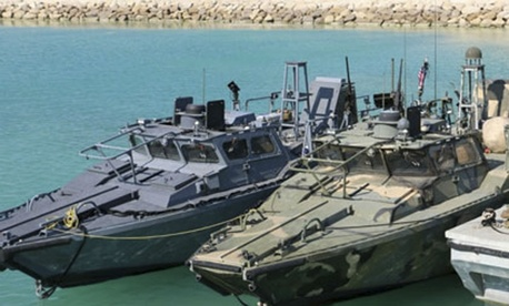 A photo of the detained Navy boats, released by the Iranian Revolutionary Guards.