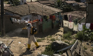 A municipal health worker sprays insecticide to kill Aedes aegypti mosquitoes, which spread the Zika virus, in Campina Grande, Brazil.