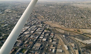 An aerial view of the U.S./ Mexico border showing Calexico, Calif., and Mexicali, Mexico/