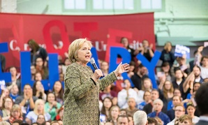 Clinton addresses supporters in Pittsburgh in April.