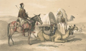 Kâfileh with camel bearing the Hodejh by Prisse d'Avennes.
