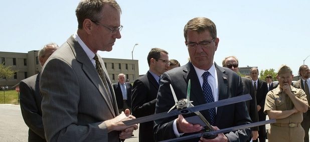 Carter examines an unmanned aerial vehicle during a visit to the Naval Undersea Warfare Center Newport on Wednesday.