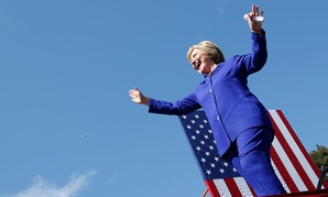 Clinton arrives at a Los Angeles rally Monday.