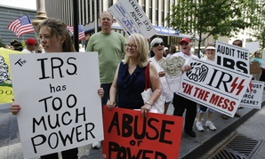 Demonstrators in 2013 protest the Internal Revenue Service's targeting of conservative groups seeking tax-exempt status.