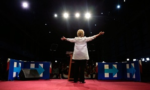 Clinton greets supporters in New York Tuesday night.