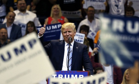 GOP presidential candidate Donald Trump speaks to supporters during a campaign rally in Billings, Mont., May 26.