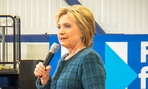 Clinton addresses supporters in New Hampshire in February.