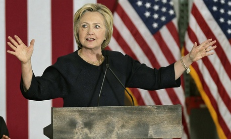 Democratic presidential candidate Hillary Clinton delivers a speech in Cleveland.