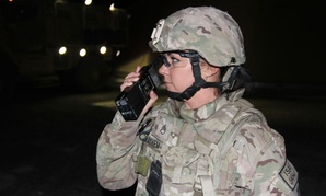 Staff Sgt. Shelda  Mairel directs communication in Kandahar in 2014.