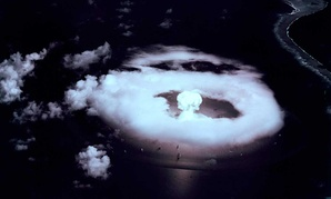 First atomic bomb explosion at Bikini in the Marshall Islands 1 July 1946.