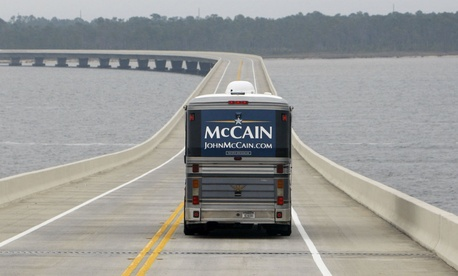 "The ""Straight Talk Express"" campaign bus of then-GOP presidential hopeful Sen. John McCain, R-Ariz., in 2008."